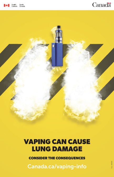 Yellow poster with vape product and lung shape in vapour